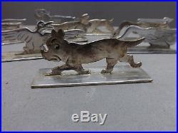 12 jolis anciens porte-couteaux, décor animaux, circa 1930