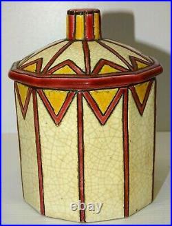 2 POTS ART DECO CERAMIQUE LONGWY 1 AVEC COUVERCLE 1930/40 COLLECTION CUISINE XXe