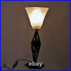 2er Set Art Déco Lampes de Table Pâte Verre Sign. Muller Freres Bureau