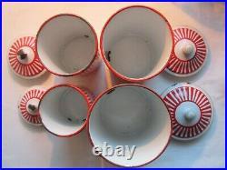 4 pots à épices, Art Déco, tôle émaillée comme cafetière, signée BB