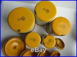 5 pots à épices, Art Déco, tôle émaillée comme cafetière, signée BB
