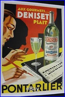 AFFICHE ANCIENNE ORIGINALE ABSINTHE ANIS PONTARLIER DENISET 1930 LITHO art déco