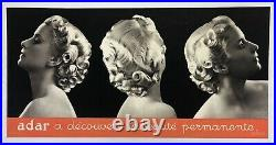 AFFICHE ANCIENNE ORIGINALE SALON de COIFFURE PERMANENTE ADAR 1930 ART DECO
