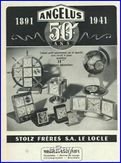 ANGELUS Midjet Reveil de voyage c1930 Mécanisme Suisse 8 jours Cuir