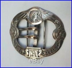 ARMAND BARGAS ART DÉCO/ ÉGYPTOMANIA- RARE- Boucle de ceinture en métal argenté