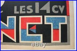 Affiche Ancienne Originale Voiture Donnet 6 Cyl (zedel) Art Deco 1930 Vintage