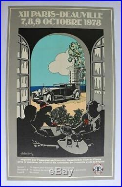 Affiche Ancienne Rallye Paris Deauville 78 Automobile Voisin F. F. A. E. Art Deco