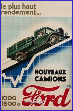 Affiche Art Deco Automobile Raoul Auger Camions Ford Industriel 1927