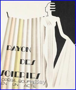 Affiche Art Déco Originale Dufrene Rayon des Soieries Opéra Rosenthal 1930