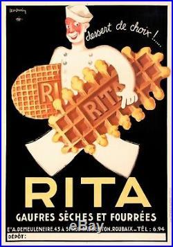 Affiche Art Deco Originale Léon Dupin Gaufres Rita Biscuits Dessert 1933
