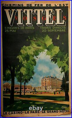 Affiche Art Deco Vittel Vosges Le Casino Le Parc Le Grand Hotel 1920 Edition Ch