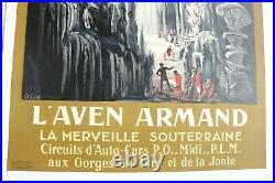 Affiche L'aven Armand Chemin Fer MIDI Poplm Gorges Tarn Eiffel 1930 Art Deco 48