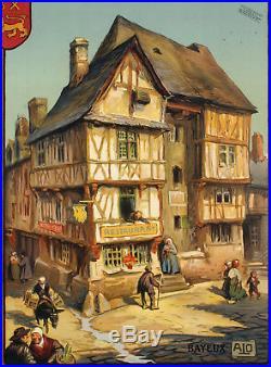 Affiche Originale Art Déco ALO Normandie- Bayeux Calvados 1922