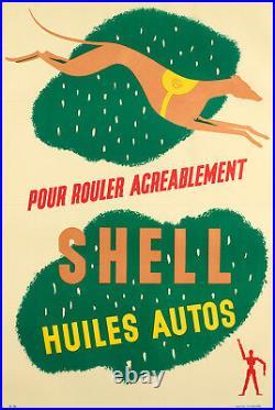 Affiche Originale Art Deco Auto Shell Carburant Huile Essence Lévrier 1925