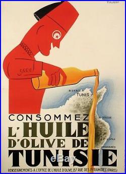 Affiche Originale Art Deco Consommez l'huile d'olive de Tunisie Tunis 1925