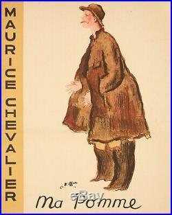 Affiche Originale Art Deco Kiffer Maurice Chevalier Ma Pomme Pathé 1937