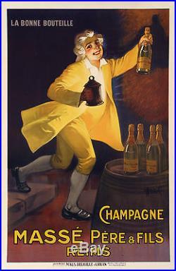 Affiche Originale Art Deco Marcellin Auzolle Champagne Massé Reims 1920