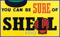 Affiche Originale Art Deco Shell Carburant Huile Auto Essence Dés 1925