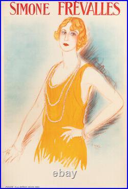 Affiche Originale Art Deco Vertès Simone Frévalles Actrice Perles 1922