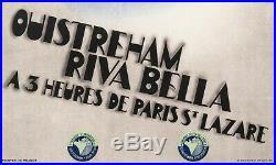 Affiche Originale Art Deco Willy Mucha Ouistreham Normandie Voile 1934