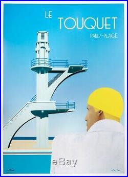 Affiche Originale Razzia Le Touquet Natation Plongeoir 1984 Art Deco