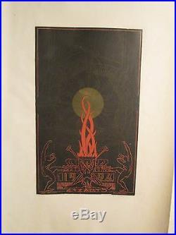 Affiche Quatz'arts Graphisme Deco Flammes Soleil Alingry 1926