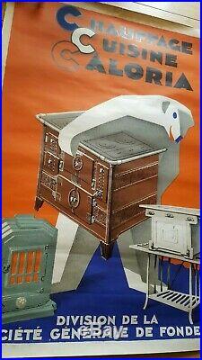 Affiche lithographiée art déco signe Favre pour les cuisines Caloria (ours)
