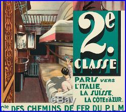 Affiche originale Art Déco Wagons Lits P. L. M. Lalique Prou 1925