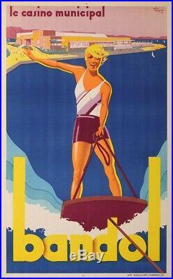 Affiche publicitaire Art Deco Bandol par André Bermond imprimerie Mourlot 1930