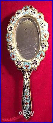 Ancien Miroir Face À Main Bronze Et Émaux Cloisonnés COLLECTION