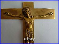 Ancien PETIT AUTEL de VOYAGE. CRUCIFIX bronze doré signé PY. Art Déco
