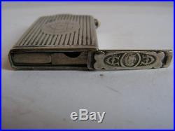 Ancien briquet bisson d'epoque art deco 1930 en metal argenté