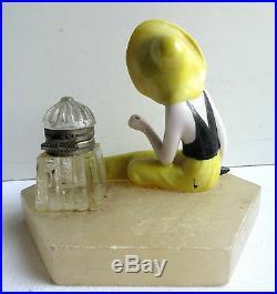 Ancien encrier Art Déco, baigneuse porcelaine, encrier verre, socle onyx Le PUY
