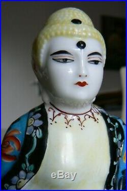 Ancien encrier plumier art déco, bouddha porcelaine