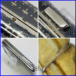 Ancien étui à cigarettes Art Déco argent niellé-Solid silver cigar case 61,5Gr