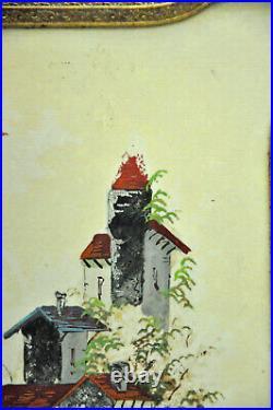 Ancien miroir triptyque type coiffeur faces célluloïd décor chateau collection