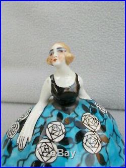 Ancien poudrier boite art deco en porcelaine statuette femme antique powder box