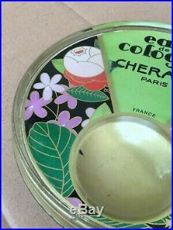 Ancien ramasse monnaie Verre publicitaire eau de cologne cheramy Paris Art déco