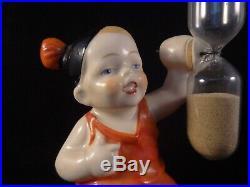 Ancien rare sablier porcelaine poupon bébé fillette enfant Germany numéroté