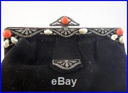 Ancien sac de soirée reticule velour argent massif perle baroque corail Art Deco
