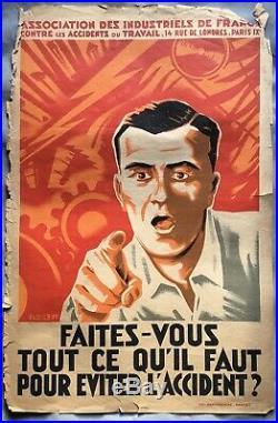 Ancienne Affiche Art Déco FAITES VOUS TOUT CONTRE LES ACCIDENTS DU TRAVAIL Rare