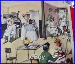 Ancienne Affiche Scolaire Rossignol EO Piscine Art déco Roger Salengro Coiffeuse