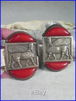 Ancienne Grande Boucle De Ceinture Decor Egyptien Rhodoide Rouge Art Deco 1930