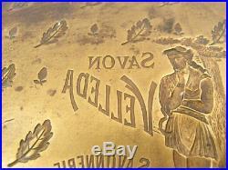 Ancienne Plaque Matrice Publicitaire Savon Velleda Savonnerie Continental Paris