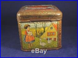 Ancienne boîte fer publicitaire confiserie enfants oie campagne lapins Gelée