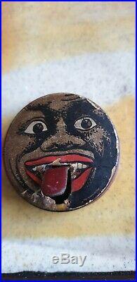 Ancienne boîte publicité tôle confiserie bonbon CACHOU KAKI langue 1920 Art déco