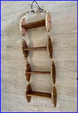 Ancienne echelle coupée escalier bateau teck art deco etagere audoux minet