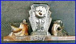 Ancienne pendule art-déco pierrot et colombine en régule et marbre dilécta