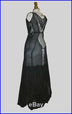 Ancienne robe de soirée en dentelle et mousseline 1930 art deco vamp