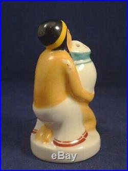 Ancienne salière porcelaine femme Egyptienne Henri DELCOURT Boulogne Art Déco